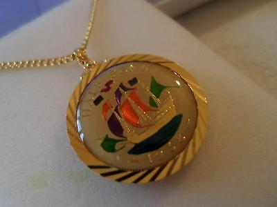 Vintage Enamelled Half Penny Coin Pendant & Necklace 1938. Birthday Xmas Gift