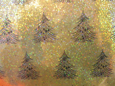 10 Metres Gold Holographic Black Tree Wrapping Paper Gift Wrap Christmas Rolls