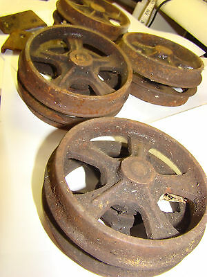 Four Antique/Vintage Cast Iron BARN Industrial Wheels/ 4 Inches HARDWARE