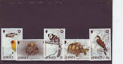 a101- JERSEY - SG447-451 MNH 1988 WILDLIFE PRESERVATION TRUST - 5th SERIES