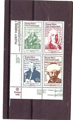 a109 - TURKISH CYPRIOT POSTS - SG172-175 MNH 1985 EUROPA - COMPOSERS