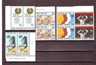 Cyprus - Sg665-669 Mnh 1985 Anniversaries & Events - Pairs