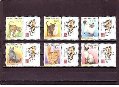 New Zealand - Sg2133-2138 Mnh 1998 Cats W/labels Year Of The Tiger