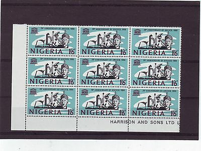 NIGERIA - SG193 MNH 1966 20th ANNIV UNESCO - BLOCK OF 9