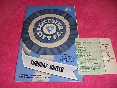 Leicester City v Torquay United  23/1/71.  FA Cup 4th Round.  With Ticket.