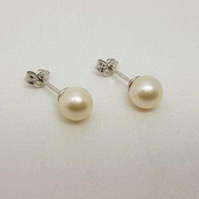 Fabulous 18ct White Gold 7mm Cultured Pearl Stud Earrings.  Goldmine Jewellers.