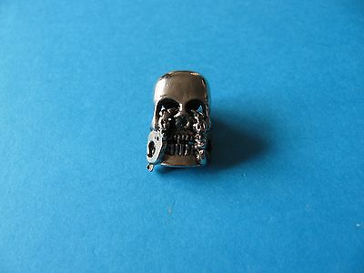Motorcycle / Goth pin badge, Unused. VGC. Metal. Skull With Handcuffs.