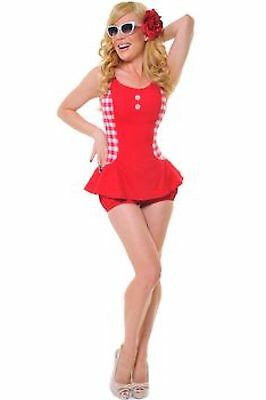 BNWT Fables of Barrie Maybelle Romper Swimsuit red gingham Vintage 50,s Size S
