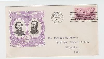 """Usa 1937 """"navy Officers"""" First Day Cover, Washington Cds"""