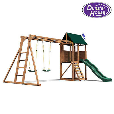 SquirrelFort Wooden Childrens Climbing Frame, Swing and Slide - Dunster House