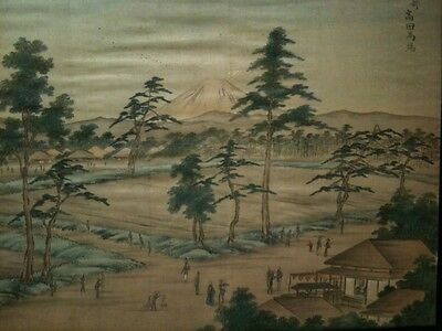 Antique Japanese Watercolour on Silk - Signed - Village Scene With Mount Fuji