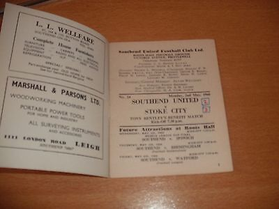 1966 SOUTHEND UNITED v STOKE CITY TONY BENTLEY TESTIMONIAL