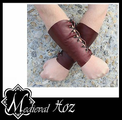 Dark Red Oxblood Leather Armour Bracer with Lacing LARP RolePlay Medieval NEW