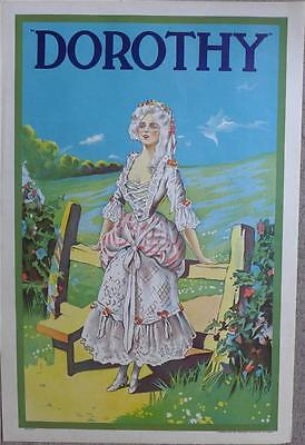 BEAUTIFUL ORIGINAL 1920s POSTER FOR COMIC OPERA DOROTHY PRINTED BY STAFFORDS