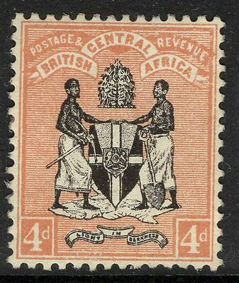 NYASALAND SG23 1895 4d BLACK & REDDISH-BUFF MTD MINT