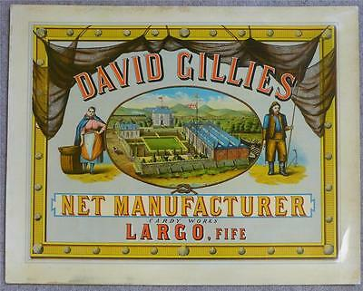 VERY EARLY CHROMOLITHOED POSTER DAVID GILLIES NET MANUFACTURER LARGO 1870s