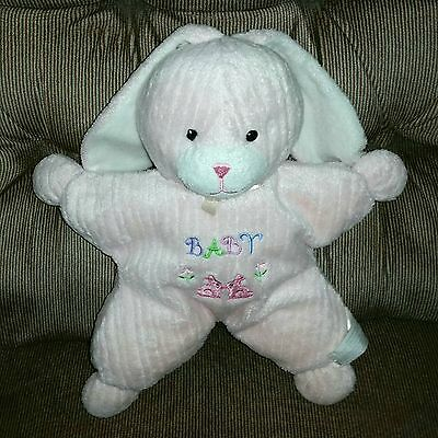 Kids Preferred Pink Bunny BABY Doll 2 Bunnies Flowers 10in Soft Plush Lovey
