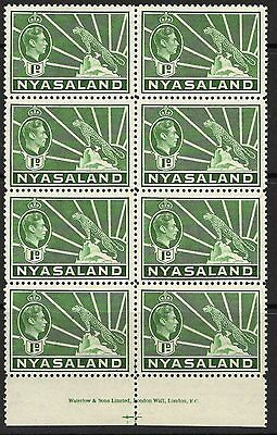 NYASALAND SG131b 1942 1d GREEN BLOCK OF 8 MNH