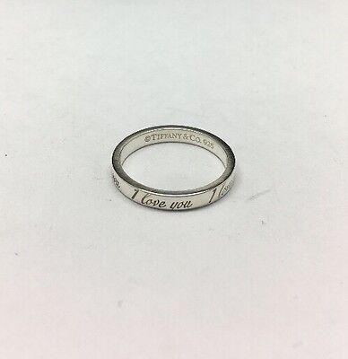 Tiffany & Co Sterling Silver I Love You Notes Ring Size 6.5