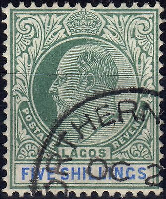 Lagos 1906 5s Green & Blue SG62a Chalk Paper Superb Used