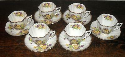 STAFFORDSHIRE C&E VICTORIA SET OF 6 BONE CHINA CUPS AND SUACERS c.1940's ENGLAND