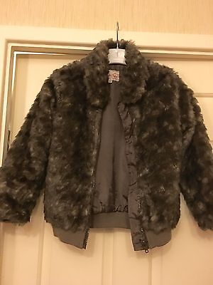 John Rocha Girls Faux Fur Coat Jacket Age 6-7 7-8 Trendy Warm Next Post Vgc