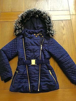River Island Girls Coat Parka Style Age 6-7 7-8 Fur Hood Belted Blue Quilted