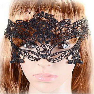 Black Lace Masquerade Eye Mask Half Face Catwoman Halloween Party Dress Fancy