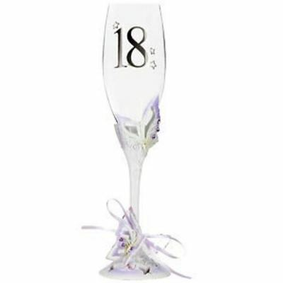 18th Birthday Gift Present For Her Girl Champagne Glass Butterfly