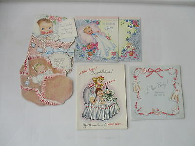 5 Vintage Used New Baby Cards