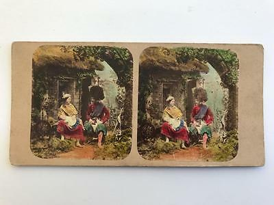 """Early Stereoview 1850s """"Cottage Scenes"""" Scottish Soldier with Wife and Child"""