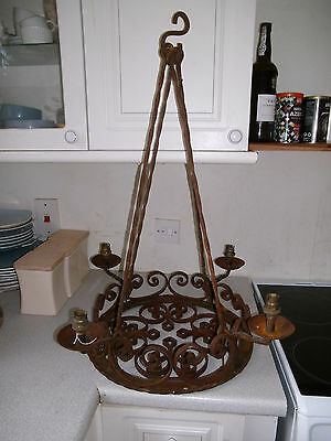 Lovely Intricate Antique  / Vintage Wrought Iron Round Cart Wheel Chandelier