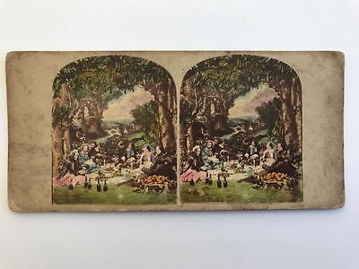 Early Stereoview 1850s Victorian Picnic