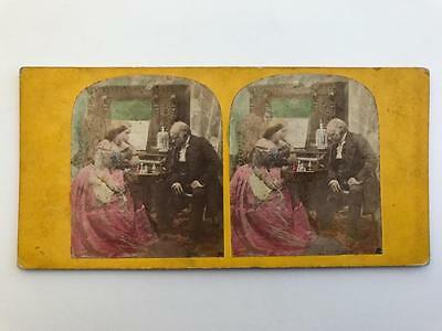 Early Stereoview 1850s The Chess Players by P E Chappuis