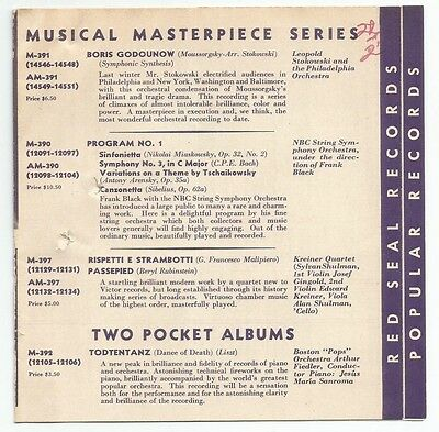 Marconi Bros Oct 1928 list of new Classical releases 78rpm etc.