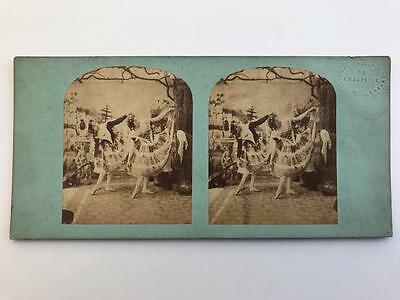Early Stereoview 1850s Ballet Dancers London Stereoscopic Company Blind Stamp