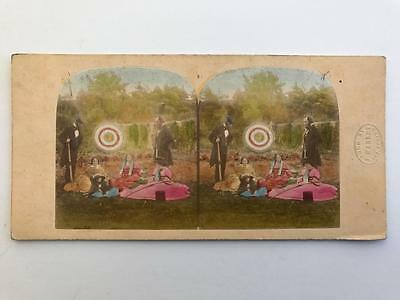 Early Stereoview 1850s Victorian Archers with J Mabley Blind Stamp