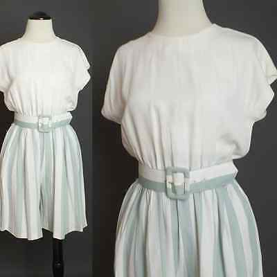 80s Green white Pastel Striped W/matching belt Romper Playsuit Jumper XS-S