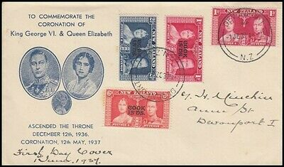 Cook Islands 1937 Coronation Fdc Used In New Zealand (Id:147/d43636)