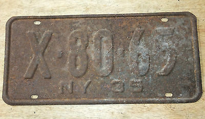 1935 Vintage NEW YORK STATE License Plate, NY 35, X-80-65