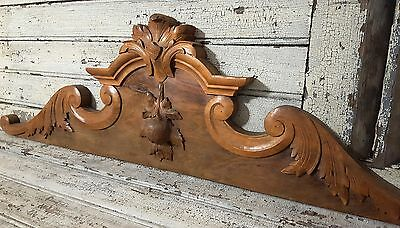 PEDIMENT CREST CHATEAU ANTIQUE FRENCH CARVED WOOD SALVAGED INTERIOR DECOR 19th