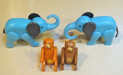 Vintage Fisher Price Little People Circus Train Animals Blue Elephant Bear