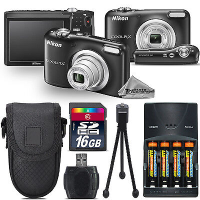 Nikon Coolpix A10 16.1MP Digital Camera Black 5x Optical Zoom - 16GB Kit Bundle