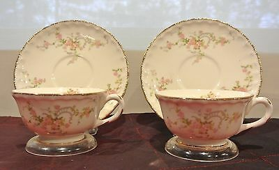 "Vtge 2 Pale Pink Roses Pope Gosser Sterling Cups and Saucers ""Jean ""Pattern"