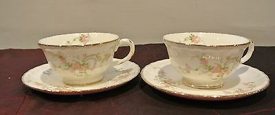 "Pale Pink Roses Pope Gosser Sterling 2 Cups and Saucers ""Jean ""Pattern"