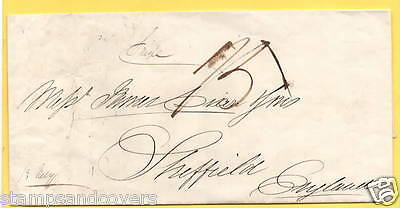 GB/USA Undated Stampless LIVERPOOL SHIP LETTER Wrapper to SHEFFIELD