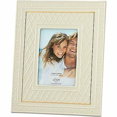 Lenox Ivory CRISS CROSS 5 X 7 Picture Frame with Gold Trim NEW IN BOX $100