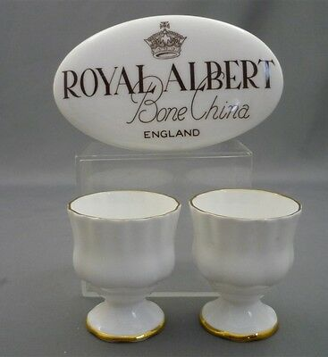 2- Royal Albert Val D'or Bone China England Pattern Egg Cups White Gold