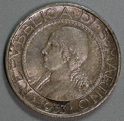 1933 SAN MARINO AU Silver 5 Lire (Only 50K Coins Minted) 16051228R