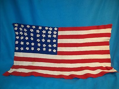 Antique 48  Star  Flag ~ Crochet Afghan ~ Rare ~ United States